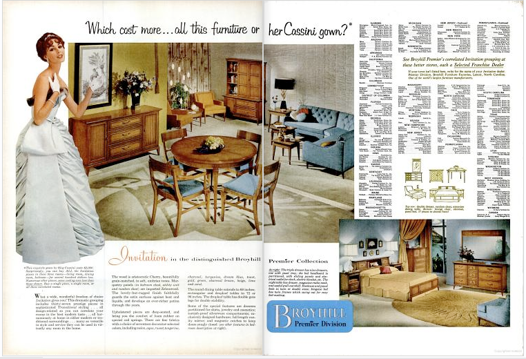 Mad for mid century vintage broyhill premier furniture ad for P s furniture flyer