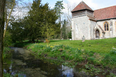 side of church and stream