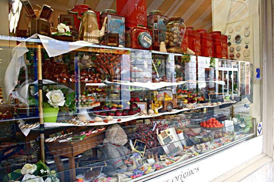 French shop window, selling sweets, tea