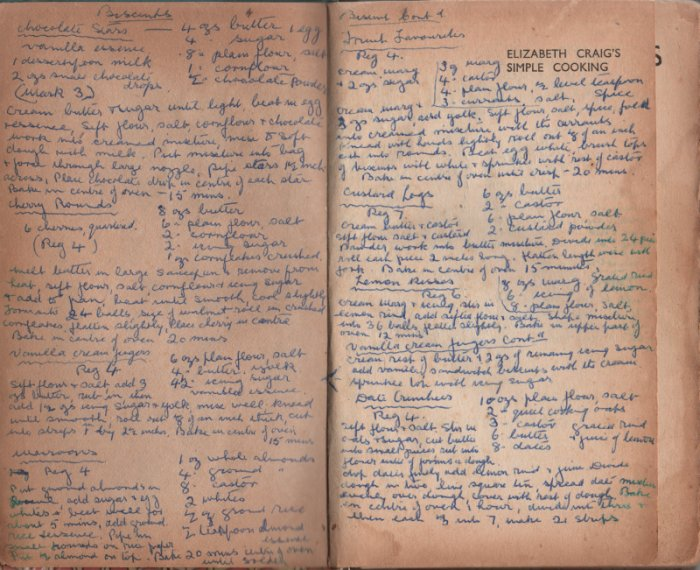inside pages of book covered in handwritten recipes