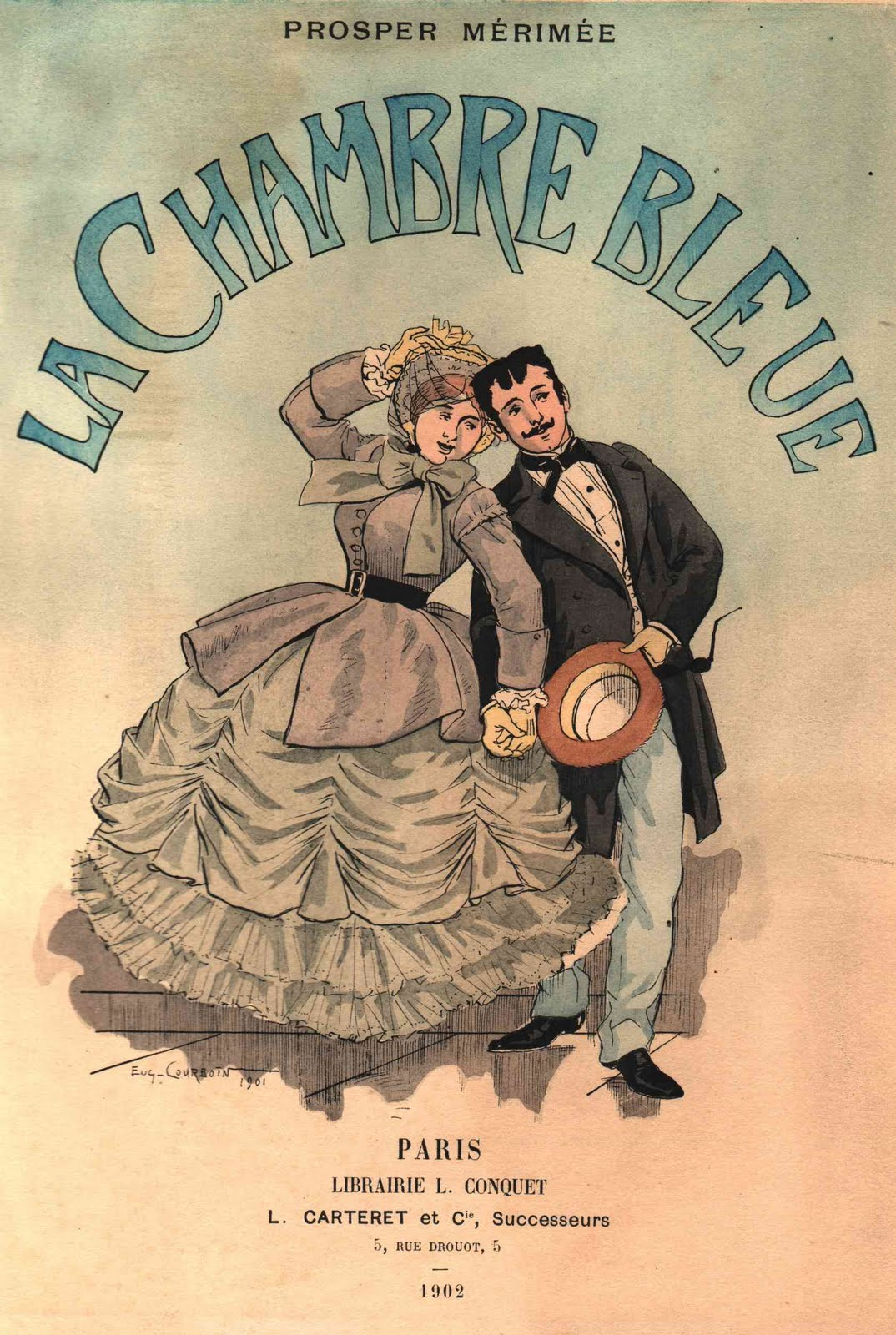 Vintage ephemera french book 1902 for Amalric la chambre bleue
