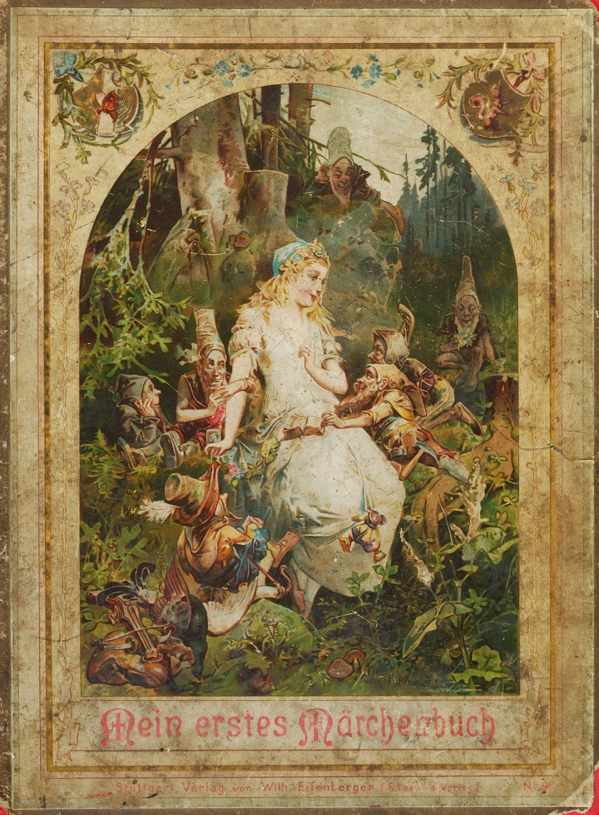 Snow White Book Cover : Vintage ephemera cover of a german fairy tales book