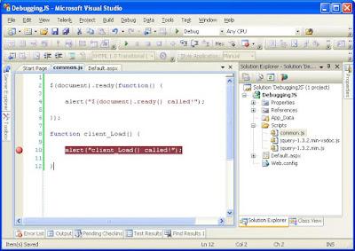 Todo fix this debugging java script in visual studio for Window onload not working in ie