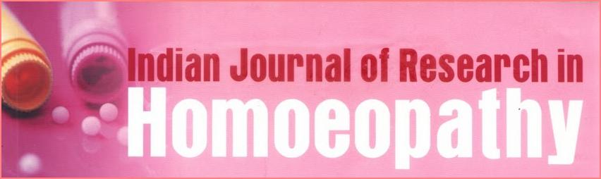 INDIAN JOURNAL OF RESEARCH IN HOMEOPATHY