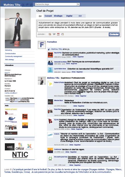le monde de la publicit u00e9     un cv en forme de profil facebook