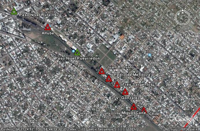 Pasos desde Ruta 197 hasta calle Chile