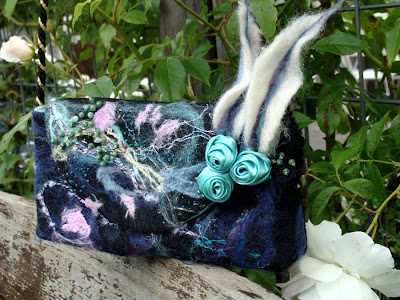 OOAK The black forest needle felted hand embellished shoulderbag