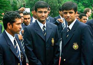 Rahul Dravid, Sourav Ganguly and Sachin Tendulkar