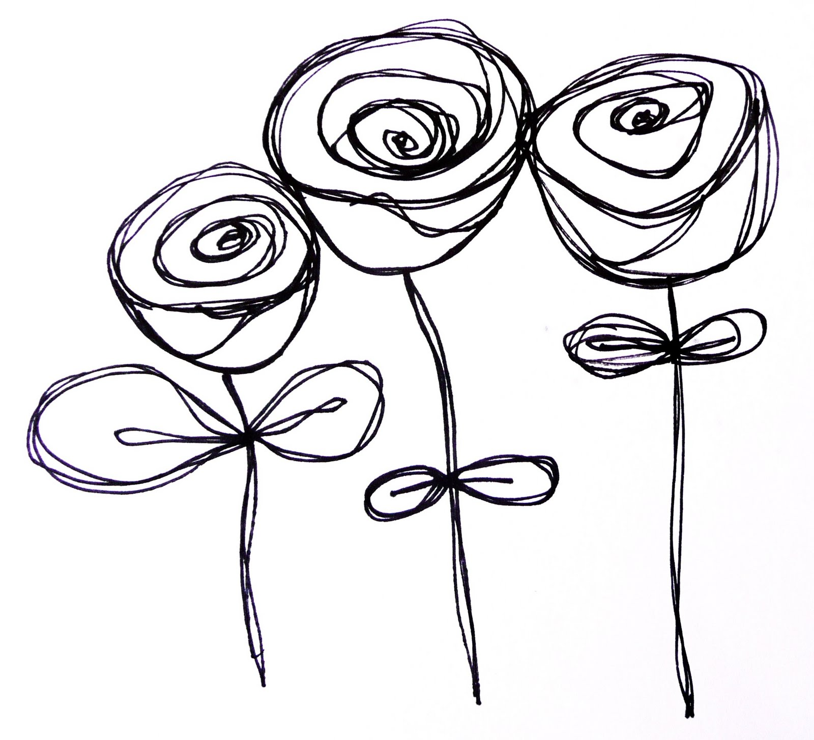Line Drawing Of Rose Flower : Art by erin leigh doodles continued