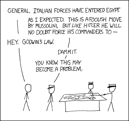 XKCD cartoon on difficulty of dealing with fascists in jurisdictions where Godwin's Law applies