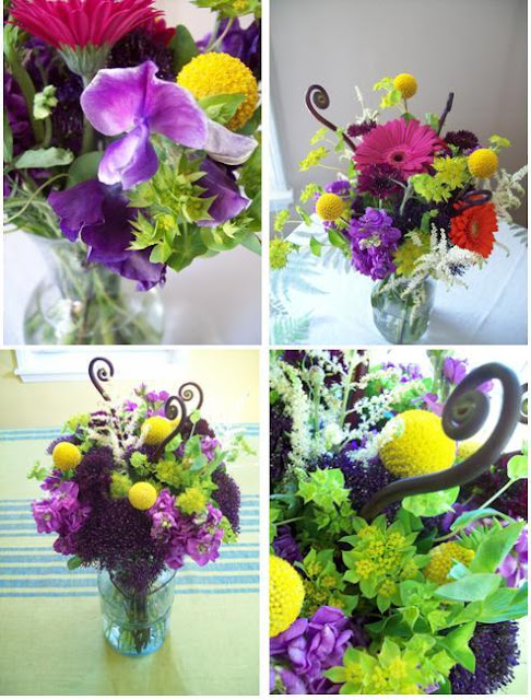 Ann Arbor Florist, sweet pea floral design, wedding flowers, arrangements, colorful, outdoor woodsy, astilbe, gerbera, sweet pea, purple, mustard, craspedia, trachillium, buplerum, kermit green, mason jar blue