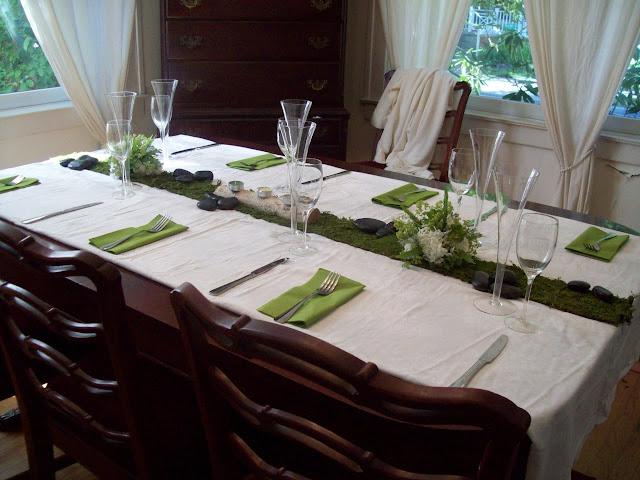 sweet pea floral design ann arbor wedding guest table idea moss, table runner moss, birch bark, tea lights, ikea nampkins, moss green, woodsy, outdoor, green bride