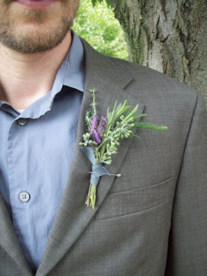 Ann Arbor Wedding Flowers Cobblestone Farms Boutonniere Herbs Lavender, rosemary, eucalyptus, Thyme, Groom, Groomsmen, Farm outdoor wedding once wed anthropology sweet pea floral design