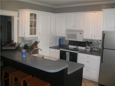 cabinets white glaze granite black backsplash dark kitchen pewter tile antique with countertops