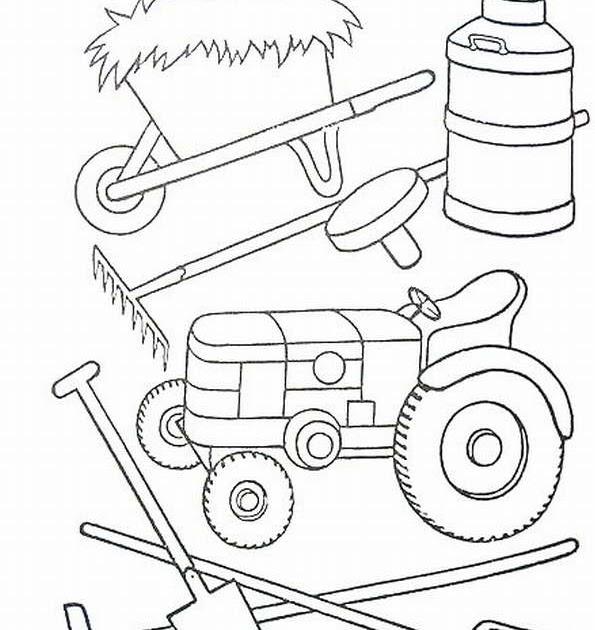 Huerto Natural Dibujos Para Colorear Tractor Y Otras Herramientas