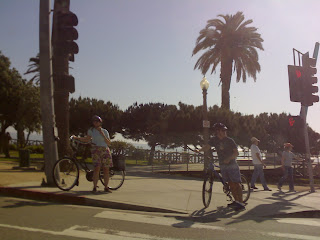 Milford in America: Bikers waiting for the green light in Santa Monica, California.
