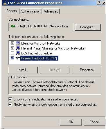 Klik Tab GENERAL pilih Internet Protocol(TCP/IP) lalu pilih