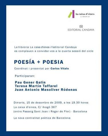 Poesía + Poesia. Lectura poética martes 15 de diciembre. Barcelona.