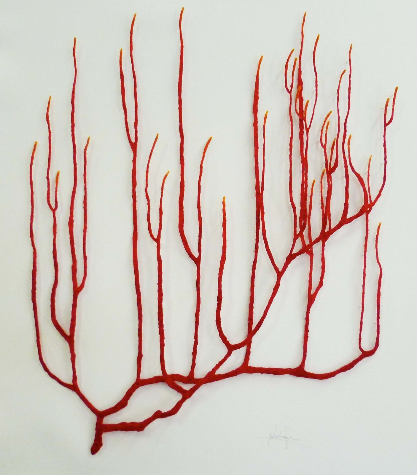 The artwork of meredith woolnough red coral series