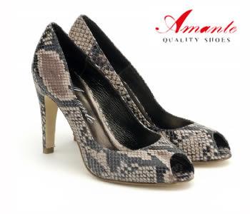 Zapato Salón de tacón con puntera Peep Toe con Estampado Serpiente - Zapatos Amante - Shoespanish.com