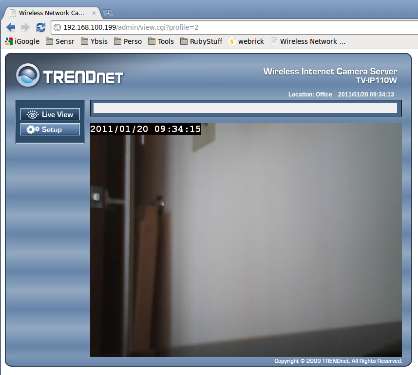 Setting up Sensr.net to monitor a Trendnet TV-IP110W