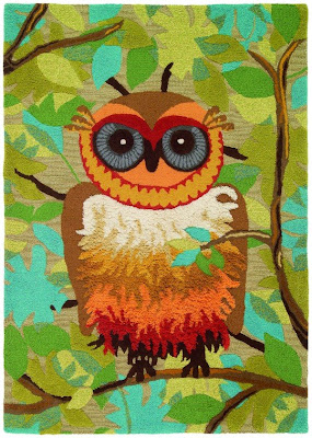 The Give a Hoot area rug from Company C was designed to celebrate the company's 15th anniversary.