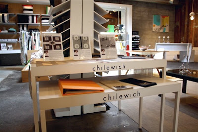 A display of Chilewich vinyl mats and textiles in Relish, a home decor store in Portland, OR. Christine Sisson, wordsonstyle, toured the store