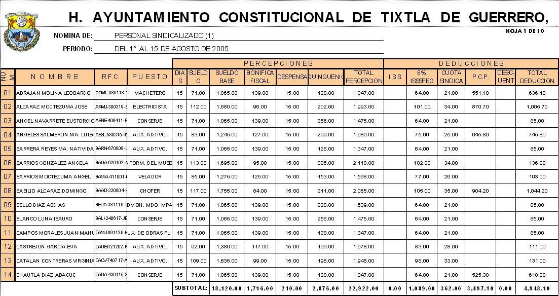Containfo Nomina Y Tabla Dinamica En Excel