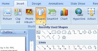 Shapes button PowerPoint 2007
