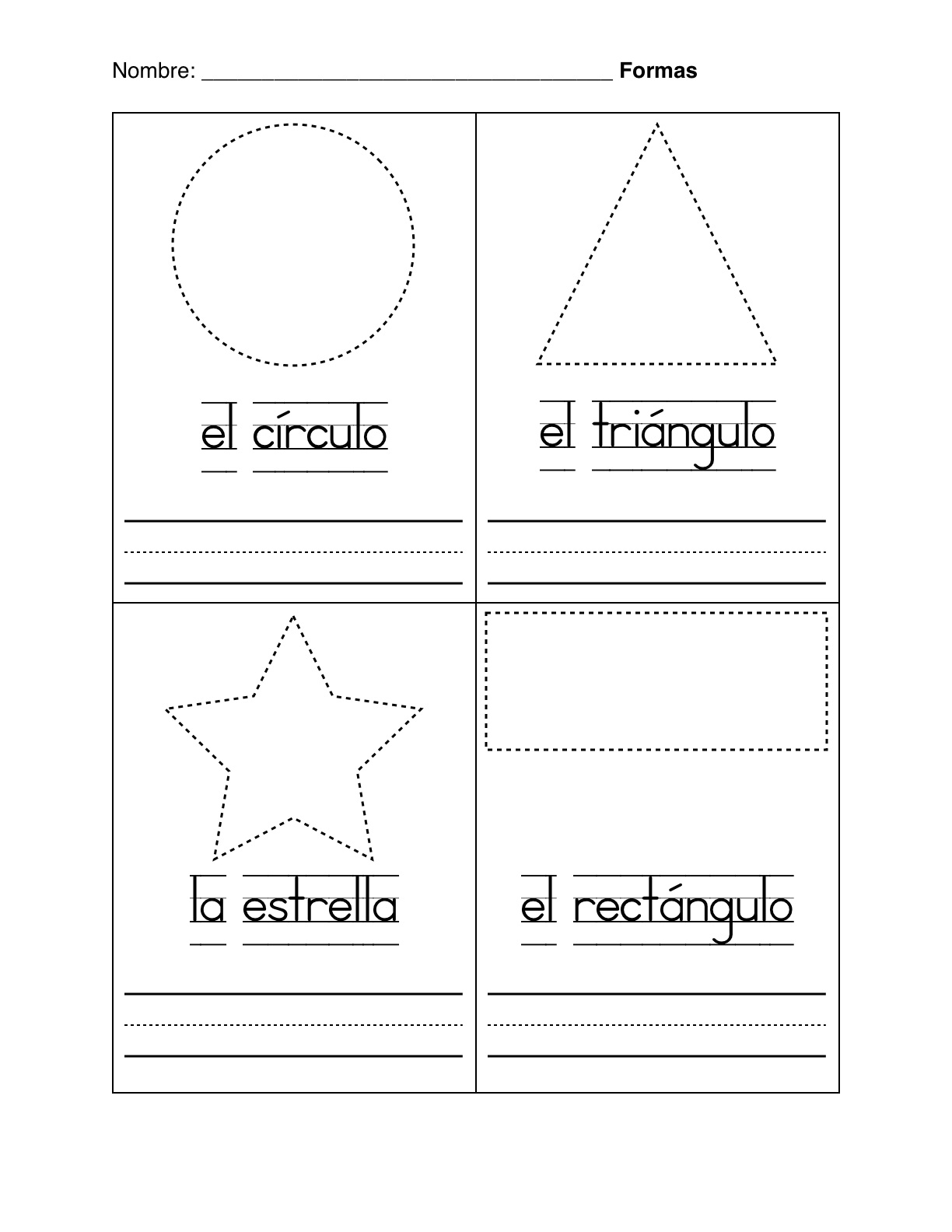 Spanish Montessori: Basic Shapes in Spanish - Formas Basicas Worksheet