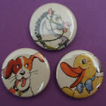 Badges made from vintage children's books
