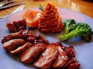 Smoked Duck Breast-with port cherry chipotle glaze, guajillo mashed ...