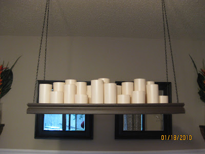 Frugal home ideas pb knock off candle chandelier i put rested some of the candles on scraps of leftover trim to stagger the heights of the glasses there are only two different sizes here aloadofball Image collections