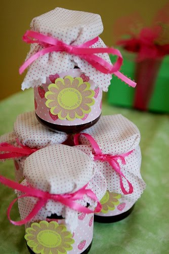 The jars are covered in strips of strawberry scrapbook paper and attached using double stick tape. The  You are sweet  tags were st&ed ... & Pluff Mudd Studio: Strawberry Shortcake 1st Birthday Party