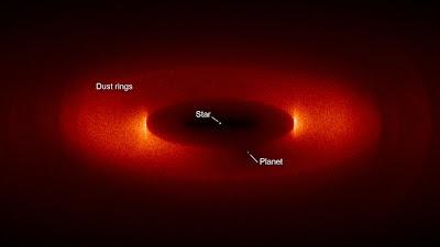 Un planeta del doble de la masa del nuestro forma una estructura de polvo en anillo en esta simulación