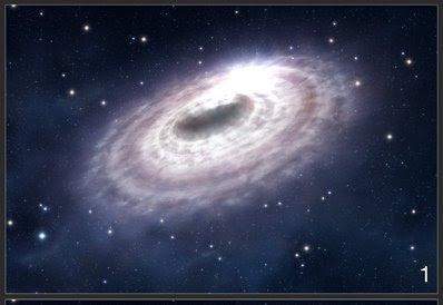 Ilustración de una brillante burbuja de gas en el disco de material que rodea al agujero negro en el centro de nuestra galaxia