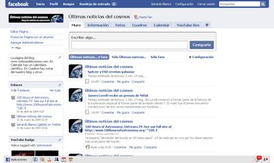 Últimas noticias del cosmos en Facebook