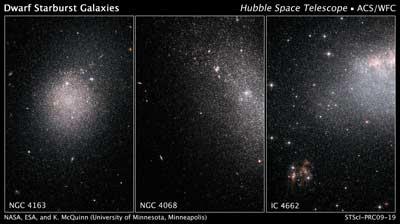 NGC 4163, NGC 4068, y IC 4662