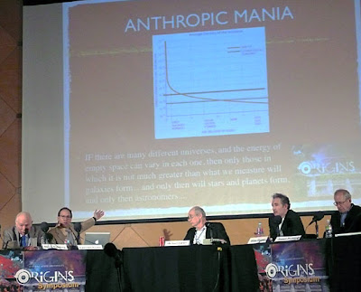 Anthropic mania:Izq. a Der.: Steven Weinberg, Lawrence Krauss, Michael Turner, Brian Greene, y Jim Peebles