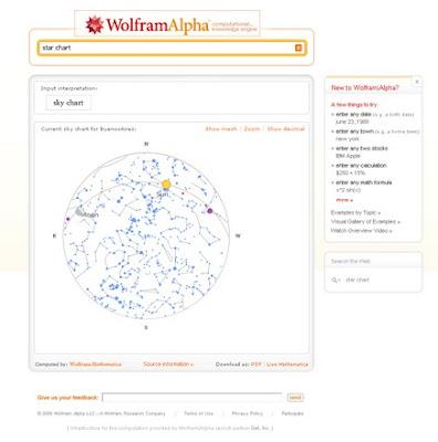 Mapa del cielo en Wolfram Alpha