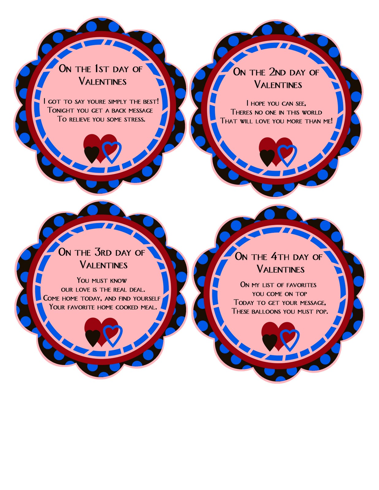 14 days of valentinesfree printable cards and gift ideas - 14 Days Of Valentines For Him
