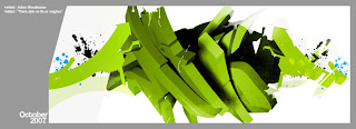 green whiten 3d graffiti alphabet buble letters