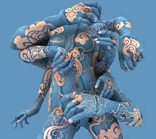 Blue Style tattoos Body painting