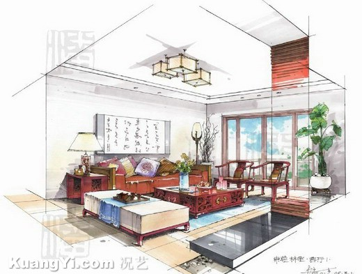 Furniture artistic interior drawings sketches living room for Interior design sketches