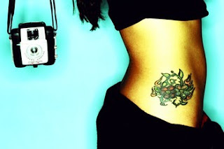 flower hip tattoos for girls
