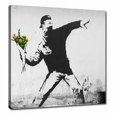flower graffiti bansky