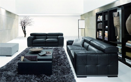Home interior fresh modern black and white living rooms for Modern living room black and white