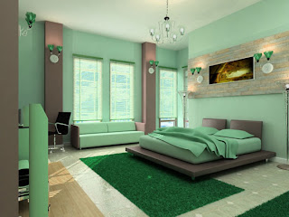 green modern bedroom interior design