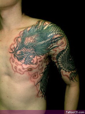 dragon flower tattoo design