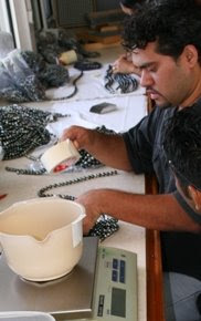 Preparing Tahitian Pearls for Auction